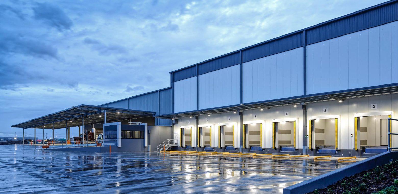 Large warehouse and loading bays